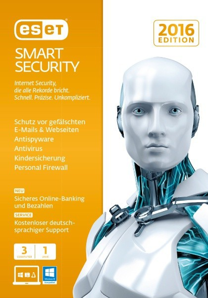 ESET Smart Security 2016 Edition 3 User 1 Jahr