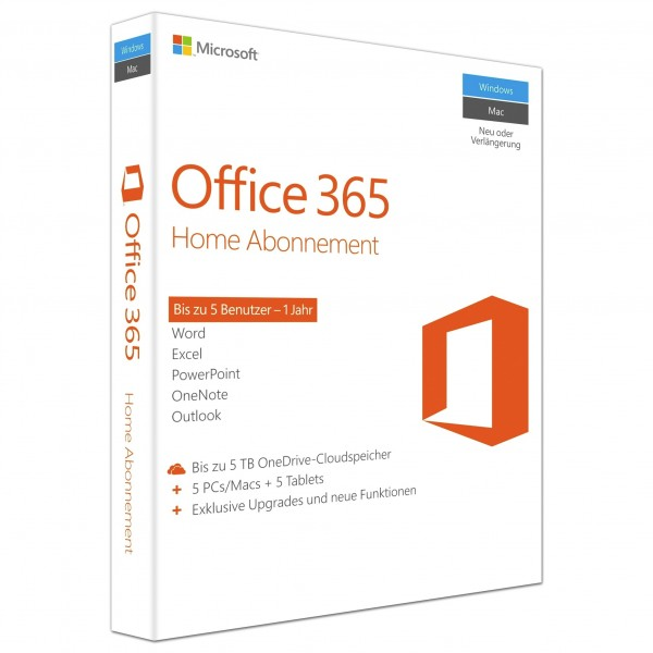 MS Office 365 Home Mac/Win Subscription P2 EuroZone Medialess 1Year German (DE)